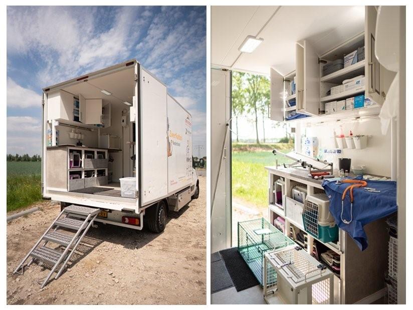 Mobiele dierenkliniek van Stichting Zwerfkatten Nederland